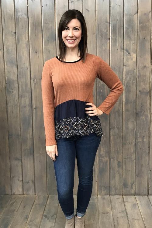 Velvet Trimmed Pullover Blouse