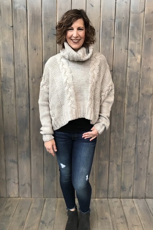 Cable Knit Slouchy Turtle Neck Sweater