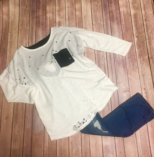 White & Black Distressed Top
