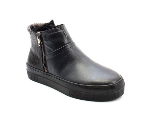 Black / Silver Leather Sheepskin Zip-Up Ankle Boots