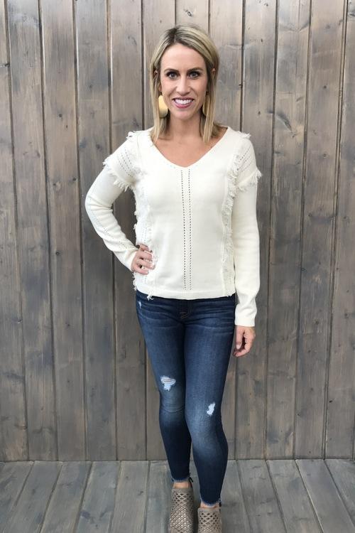 Josephine Whitecap Fringe Sweater