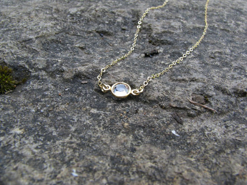 Bezel Swarovski 14K Gold Necklace