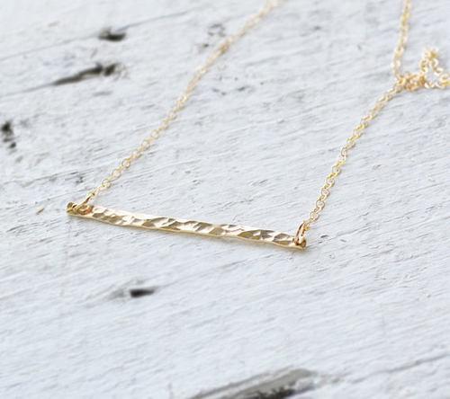 Hammered 14k Gold Horizontal Bar Necklace