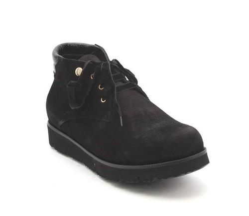 Black Suede Sheepskin Lace-Up Super-Light Ankle Boots