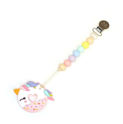 Unicorn Donut Teether w/ Holder Pink