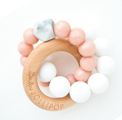 Trinity Wood & Silicone Teether Metallic Champagne Rose