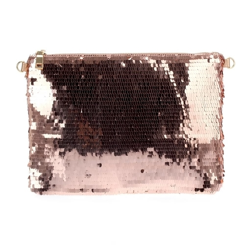 Large Sequin Clutch With Chain