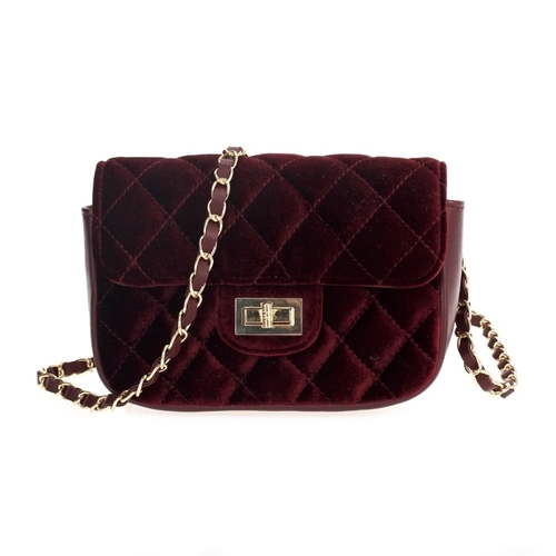 Velvet Quilted Cross Body Bag