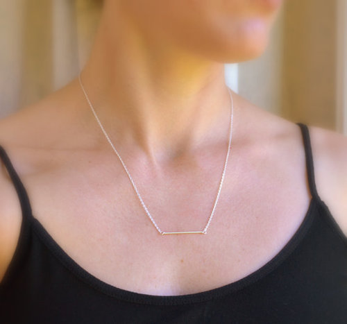 Dainty Bar Sterling Silver Necklace