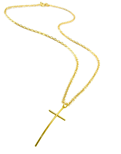 Long Chain Necklace with Cross
