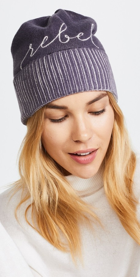 "Poe Cashmere Knit Beanie with White ""Rebel"""