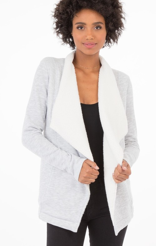 Heather Grey Sherpa Sweater Cardigan