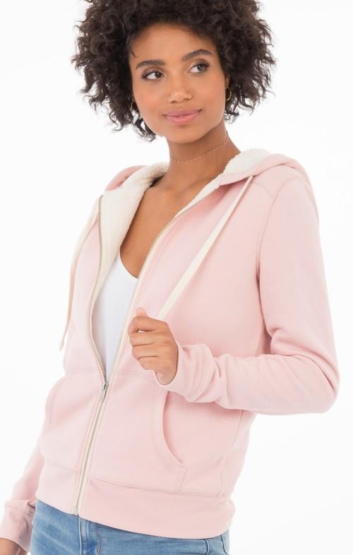 Silver Pink Sherpa Zip Hoodie