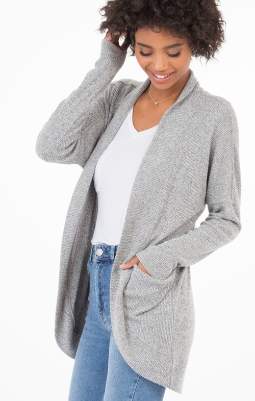 Grey Brushed Rib Sweater Cardi