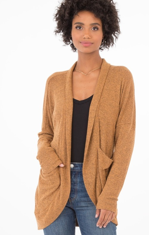 Almond Brushed Rib Sweater Cardi