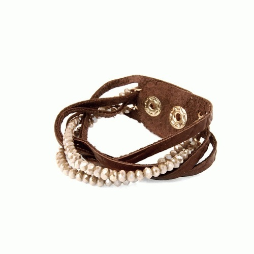 Brown Leather Braided Bead Bracelet