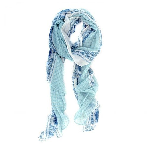 Turquoise Moroccan Tapestry Print Scarf