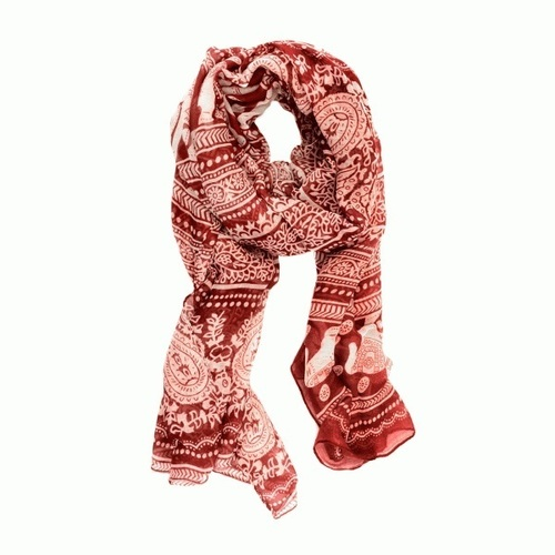 Red Elephant Paisley Scarf