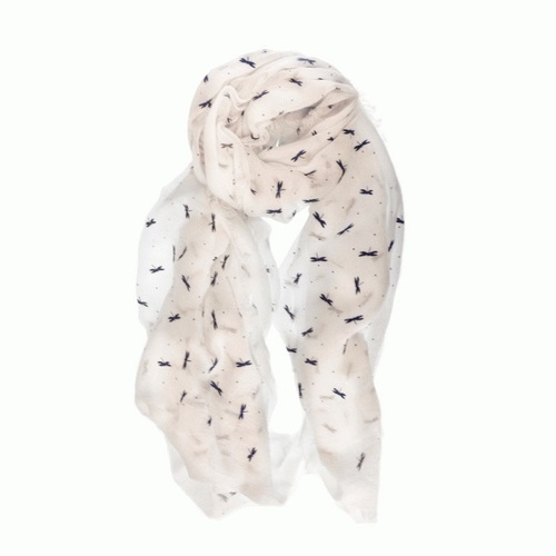 White Dragonfly Print Scarf