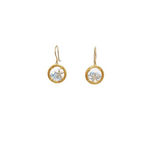 Gold Shaker w/ Aqua Crystals & Gold Starfish Dangle Earring