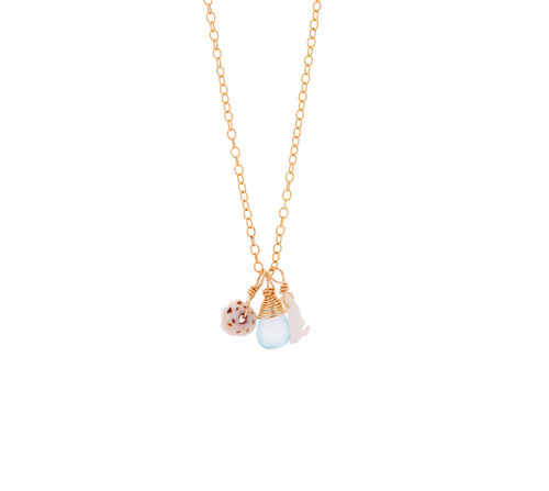 Spiral Wrap Tri- Charm Gold Necklace