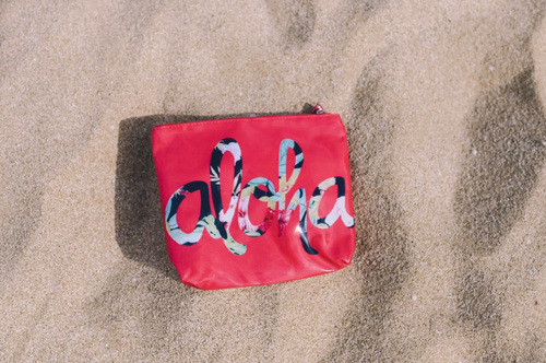 Aloha Hibiscus Red Small Pouch