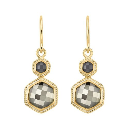 Grey Sapphire & Pyrite Double Drop Earrings