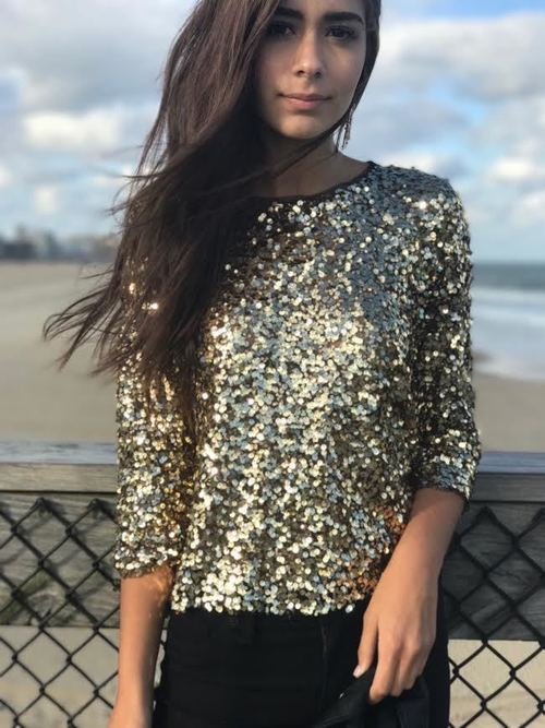 Gold Sequins Long Sleeve Overlay Blouse