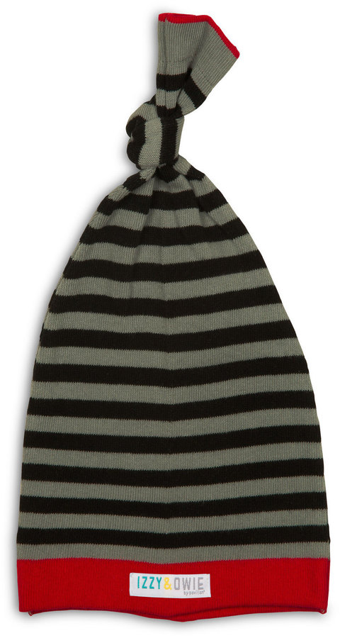 Gray and Black Stripe Baby Hat 0-12 Months
