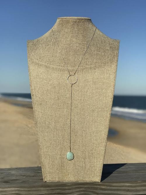 Amazonite Circle Long Y Necklace Silver