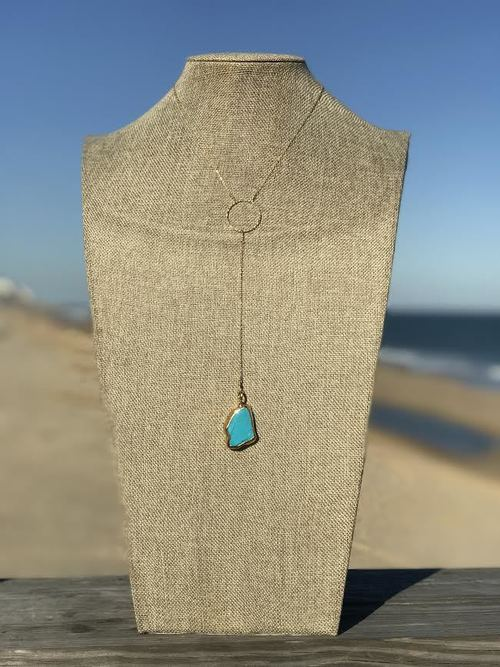 Turquoise Circle Long Y Necklace