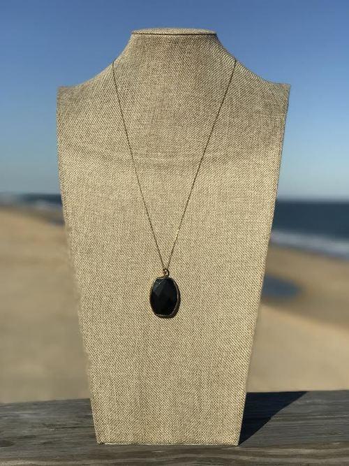 Round Black Long Pendant Necklace