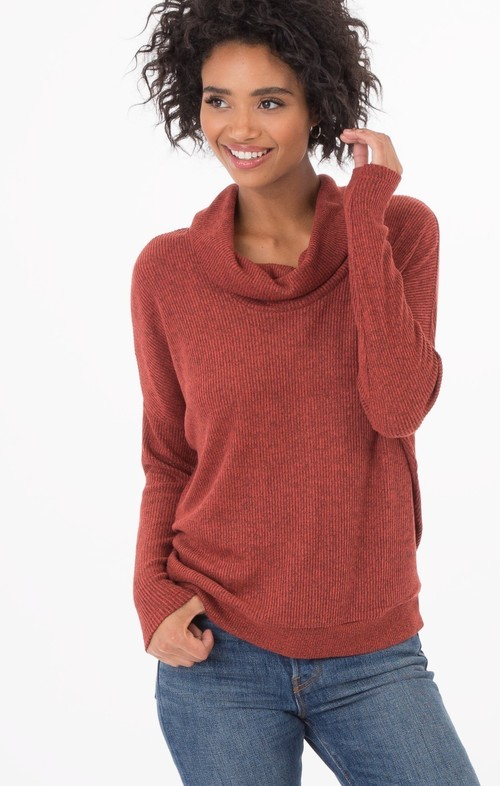 Rust Brushed Rib Cowl Neck Sweater