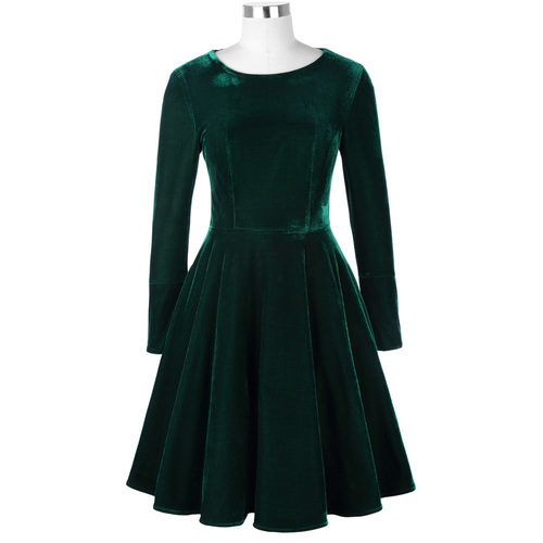 Equestrian Dress in Green Velvet
