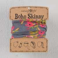 Charcoal Blooms Skinny Boho Bandeau