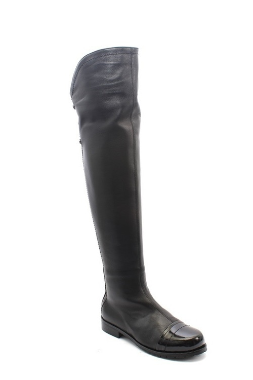 Black Leather / Patent Shearling Over the Knee Boots