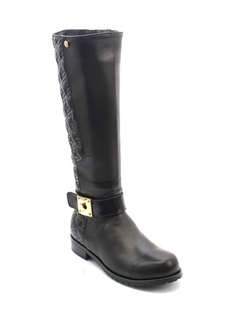 Black Leather / Shearling Knee High Boots