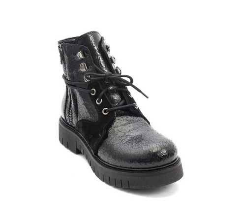 Vintage Black Leather / Suede Lace-Up Zip-Up Ankle Boots