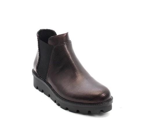 Burgundy Black Pressed Leather / Elastic Panels Ankle Boot