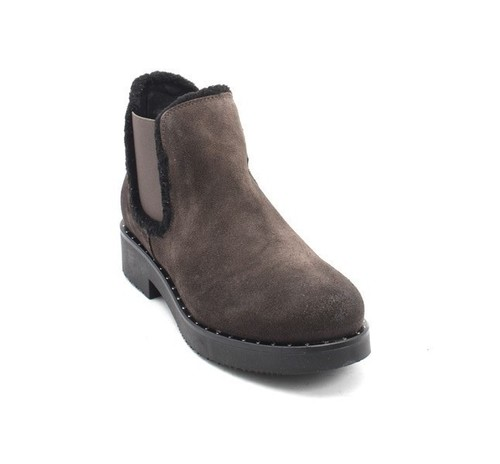 Gray / Black Suede / Elastic Panels Ankle Boots
