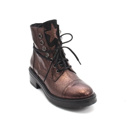Vintage Bronze Leather Lace-Up Zip-Up Studded Ankle Boots