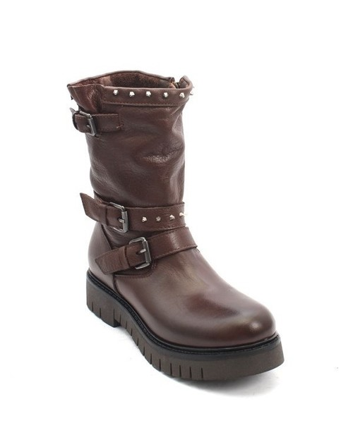 Brown Leather Zip-Up Struppy Studded Mid-Calf Boots