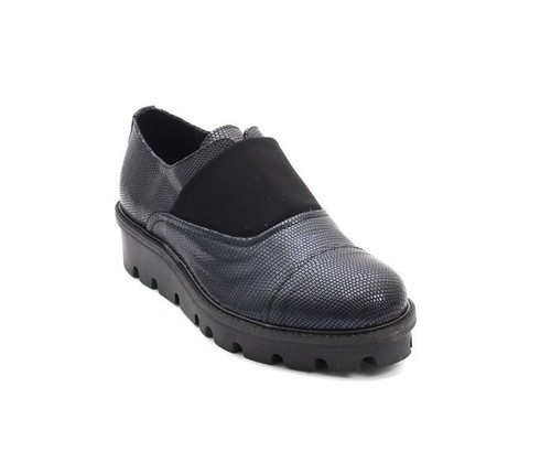 Navy / Black Stamped Leather / Elastic Oxford Shoes