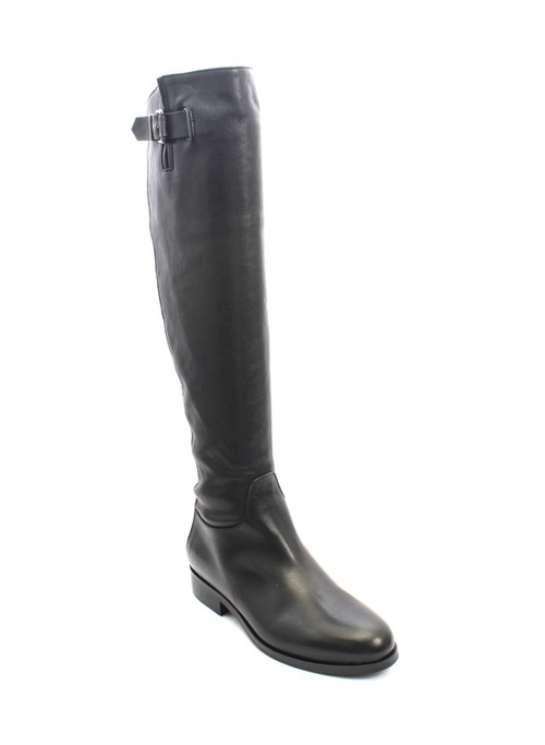Black Leather / Sheepskin / Knee-High Buckle / Zip Boots