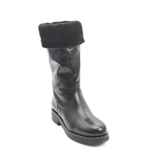 Black Leather / Sheepskin Mid-Calf Boots