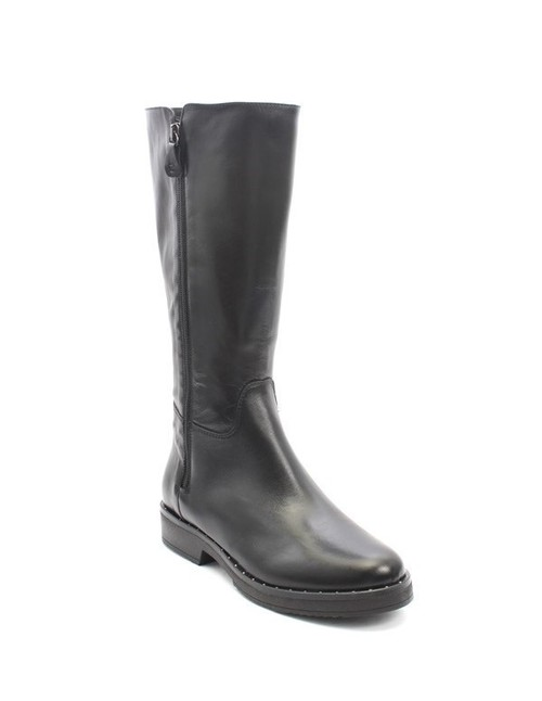 Black Leather / Double Zipper / Studded Mid-Calf Boots