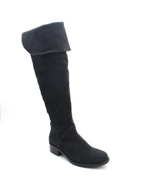 Navy Suede Over-the-Knee Riding Boots
