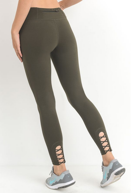 Crisscross Cutout Accent Legging