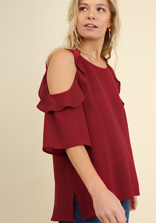 Cold Shoulder Blouse w/ Ruffle Details