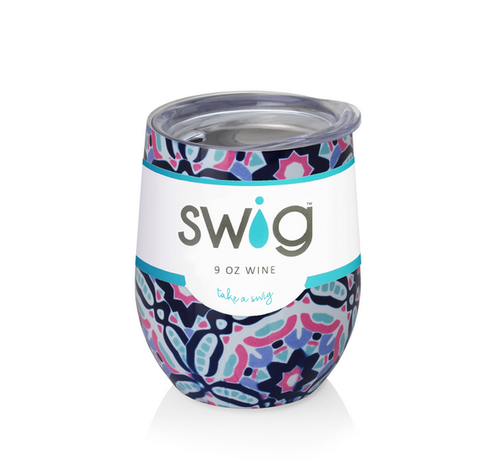 Colorful Swig Wine Cup- 9oz